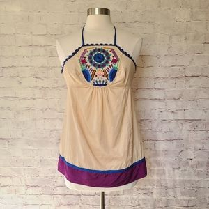 Plenty by Tracy Reese Boho Embroidered Halter Tank